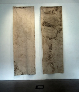 Katharine Fry: I tried to pull time out of the water, I, Thames tide and pencil drawing on unprimed canvas and I tried to pull time out of the water, II, Thames tide and pencil drawing on unprimed canvas