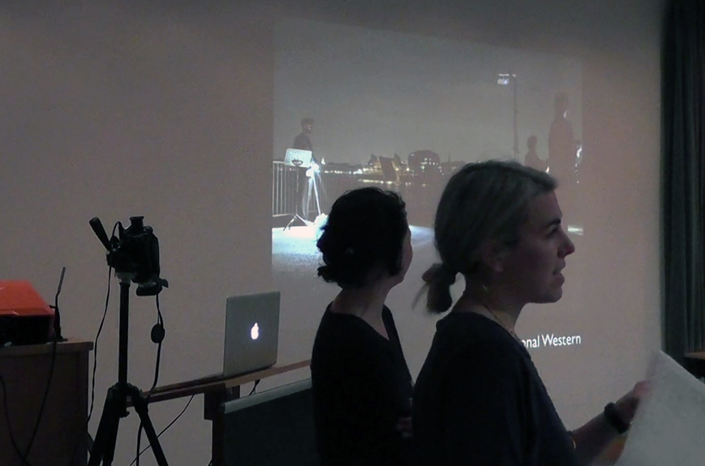 Ella Finer and Flora Pitrolo from The International Western talking about 'Calling All', performance with Morse code and lights, 2014